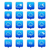 Simple Line Weather Icon Set. Vector Illustration. Meteorology Symbol