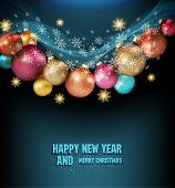 vector dark blue background with a magic Christmas balls and snowflakes