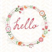 Floral romatic concept hello card with wreath