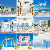 beautiful wedding arch, cabana, beach wedding, tropical wedding set up collection set