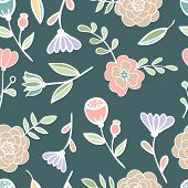 Seamless floral colorful pattern Vector illustration stained glass