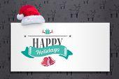 Christmas message against grey reindeer pattern