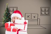 Festive blonde holding pile of gifts against grey background with vignette