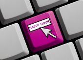 stock photo of mouse  - Computer Keyboard with Mouse Arrow showing Happy Hour - JPG