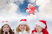Cute children against blue sky with white clouds