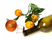 Empty Bottle Of Wine, Muselet, Mandarins And Christmas Decorations