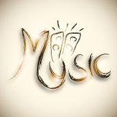 Shiny stylish text of Music with loud speakers design on stylish background.