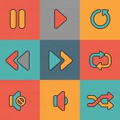 Set of nine media web icons on colorful background.
