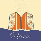 Stylish text of Music with loudspeakers and musical notes on stylish background.
