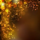 Shiny abstract musical background with flying musical notes.