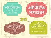 Happy New Year 2015 and Merry Christmas celebration vintage sticker, tag or label decorated with floral design and ornaments.