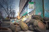 KIEV, UKRAINE -MAR 24, 2014.Downtown of Kiev,vandalised during Revolution of Dignity.March 24, 2014 Kiev, Ukraine