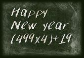 Blackboard With Math Happy New Year 2015