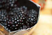 Fresh ripe blackberries  closeup photo