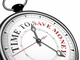 stock photo of time-saving  - time to save money concept clock isolated on white background - JPG