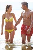pic of amor  - Amorous couple in swimwear walking in water - JPG