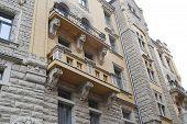 picture of art nouveau  - Art Nouveau building in center of Riga Latvia - JPG