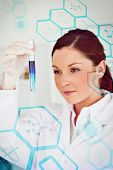 image of scientist  - Medical interface against beautiful redhaired scientist looking at the camera while holding a test tube - JPG