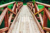 picture of old bridge  - Old Red Rustic Wooden Bridge Over Pond Background - JPG