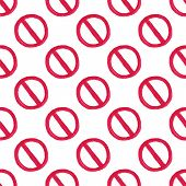 stock photo of restriction  - Watercolor seamless pattern with restriction sign on the white background - JPG