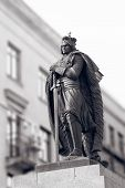 image of duke  - Duke Vytautas Magnus sculpture in Kaunas city in black white - JPG