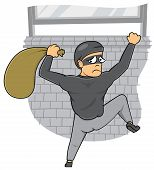 picture of caught  - thief caught out of window of the house - JPG