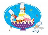 stock photo of banana split  - Three cute tiny chefs are decorating a bowl with banana and ice cream - JPG