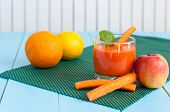pic of light weight  - Healthy homemade carrot juice in glass and fresh carrot - JPG