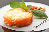 image of scrambled eggs  - Scrambled Eggs with Less Salt Salmon - JPG