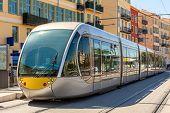 stock photo of tram  - Modern tram on the stop in city of Nice - JPG