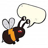 picture of bee cartoon  - cartoon frightened bee with speech bubble - JPG