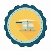 picture of rescue helicopter  - Medical Helicopter Flat Icon With Long Shadow - JPG