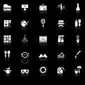 image of fibonacci  - Art activity icons with reflect on black background stock vector - JPG
