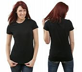 stock photo of redhead  - Young beautiful redhead female with blank black shirt front and back - JPG
