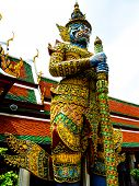 stock photo of guardian  - Thai guardian statue at Wat Phra Kaew in the Grand Palace of Bangkok - JPG