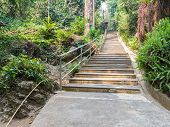 stock photo of bannister  - stairway for walking to the temple on the hill - JPG