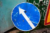 image of turn-up  - Turn left sign with scratched surface - JPG