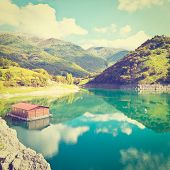picture of apennines  - Wooded Shore of the Lake in Italy Retro Effect - JPG