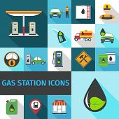 picture of fuel pump  - Gas station icons flat set with fuel pump eco petroleum symbol isolated vector illustration - JPG