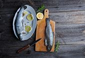 picture of brook trout  - Fresh trout with lemon and rosemary - JPG