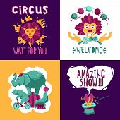 stock photo of circus clown  - Circus design concept set with clown animals and magician icons isolated vector illustration - JPG