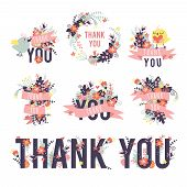 stock photo of thankful  - Spring thank you set - JPG
