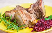 pic of baby back ribs  - roasted ribs wirh beets on yellow plate - JPG