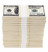 stock photo of 100 dollars dollar bill american paper money cash stack  - Stack of one hundred american dollar bills - JPG
