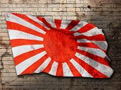 picture of japanese flag  - 3d rendering of an old japanese flag - JPG