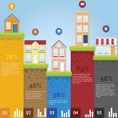 foto of suburban city  - City infographic chart with flat design and bright color - JPG