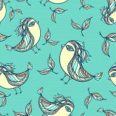 foto of blue things  - Seamless pattern with doodle ethnic birds in blue colors for using in different design things - JPG