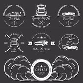 picture of auto garage  - Set of vintage car club drift club auto parts and garage labels badges and design elements - JPG