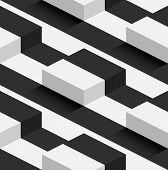 image of parallelepiped  - Striped 3D Square Hills Vector Seamless Pattern Background - JPG