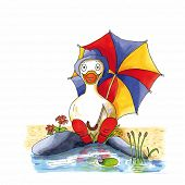 foto of duck  - Childish funny duck illustration sitting near lake with boots and umbrella - JPG